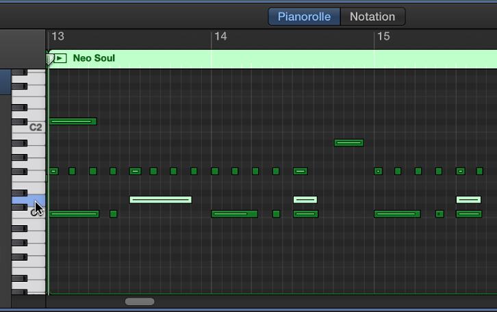 Abbildung. Auswahl von Noten der gleichen Tonhöhe durch Klicken auf die Klaviatur am linken Rand des Pianorolleneditors.
