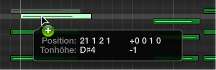 Abbildung. Kopieren einer Note (durch Bewegen bei gedrückter Wahltaste) im Pianorolleneditor.