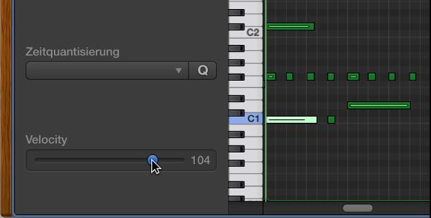 Abbildung. Bearbeiten der Noten-Velocity im Pianorolleneditor