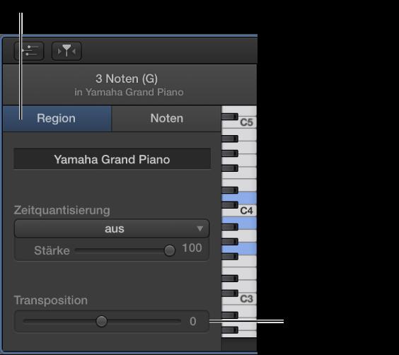 """Abbildung. Informationsfenster des Pianorolleneditors mit dem Bereich """"Region"""" und dem Transpositionsregler."""