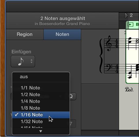 """Abbildung. Auswählen eines Werts im Einblendmenü """"Zeitquantisierung"""" im Notationseditor."""