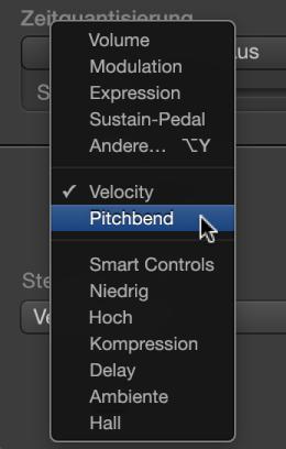 """Abbildung. Einblendmenü """"MIDI-Draw"""" mit Controller-Typen"""