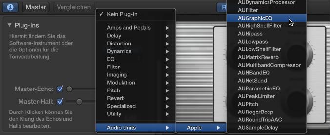 """Abbildung. Auswählen eines Audio Units-Plug-Ins aus dem Einblendmenü """"Audio Units"""" im Informationsfenster """"Smart Controls""""."""