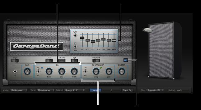 Abbildung. Bass Amp Designer mit EQ- und Kompressor-Steuerelementen.