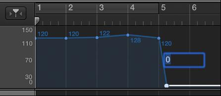 Abbildung. Tempospur, zu der ein Temposteuerpunkt durch numerische Festlegung hinzugefügt wird.