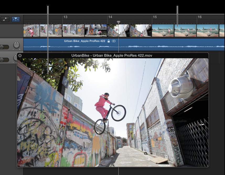 Abbildung. Schwebendes Filmfenster und Spur mit dem Audiomaterial aus dem Film.