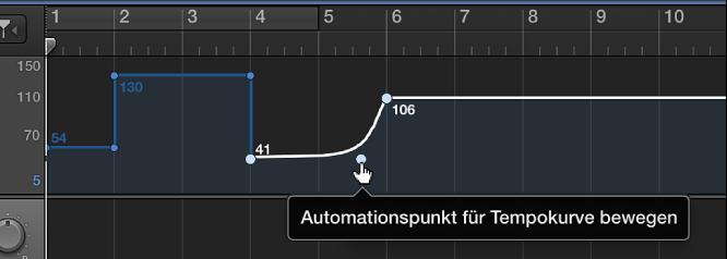 Abbildung. Tempospur, in der eine Tempokurve erstellt wird.