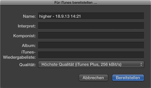 Abbildung. Dialogfenster zum Bereitstellen für iTunes.