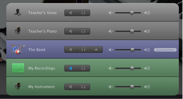 """Abbildung. Mixer """"Instrument lernen""""."""