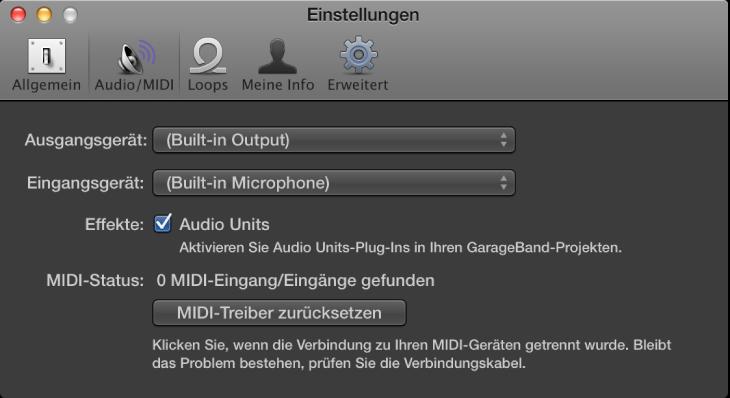 "Abbildung. Bereich ""Audio/MIDI""."