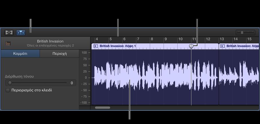 Εικόνα. Πρόγραμμα επεξεργασίας ήχου με επιλεγμένη περιοχή.