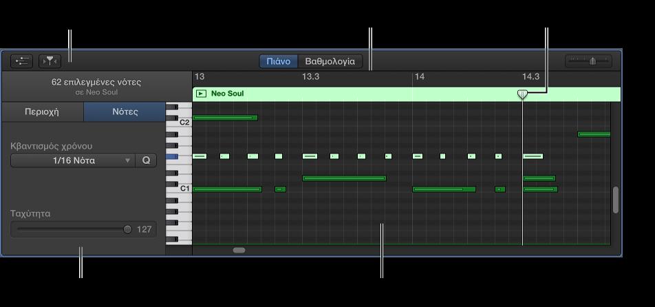 Εικόνα. Πρόγραμμα επεξεργασίας πιάνου με επισημασμένη νότα MIDI.