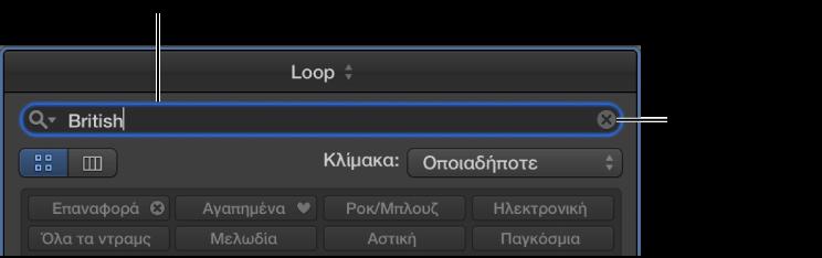 Εικόνα. Πεδίο αναζήτησης στην Περιήγηση loop.