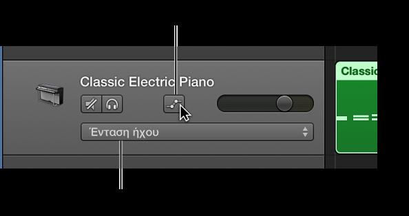 Εικόνα. Εμφάνιση του κουμπιού αυτοματοποίησης καναλιού και του αναδυόμενου μενού «Παράμετροι αυτοματοποίησης» στην κεφαλίδα ενός καναλιού.