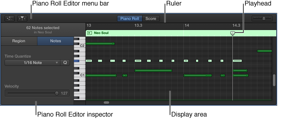Figure. Piano Roll Editor, pointing out MIDI note event.
