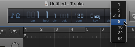 Figure. Choosing new time signature from pop-up menu in LCD