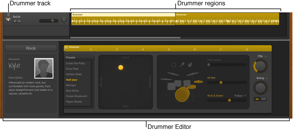 Figure. Drummer track and Drummer editor