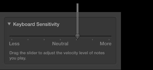 Figure. Keyboard Sensitivity slider in the Smart Controls inspector.