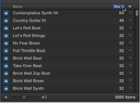 Figure. Pointing to the Beats column header in the Loop Browser.