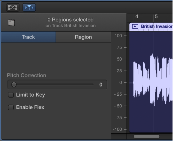 Figure. Audio Editor inspector showing Track controls