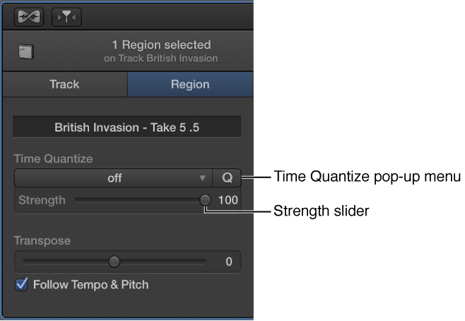 FIgure. Audio Editor inspector, showing Time Quantize pop-up menu and Strength slider