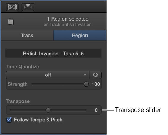 Figure. Audio Editor inspector in Region mode, showing Transpose slider