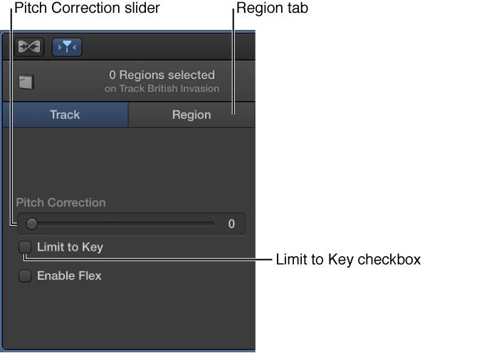 FIgure. Audio Editor inspector in Track mode, showing Pitch Correction slider and Limit to Key checkbox