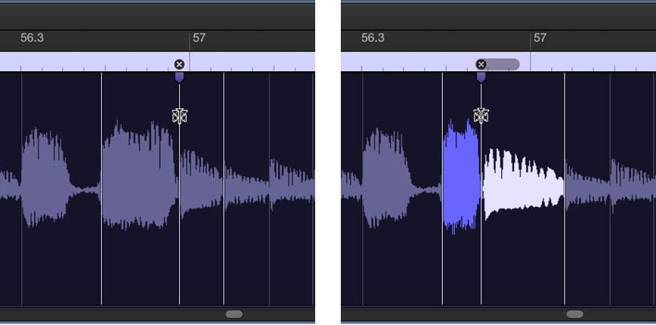 Figure. Two audio regions showing the region before and after a flex marker is moved to the left.