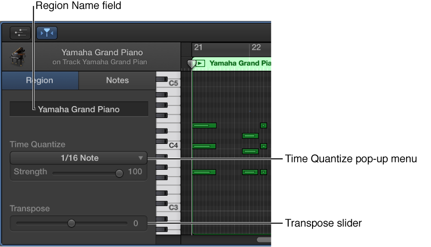 Figure. Piano Roll Editor inspector in Region mode, showing controls