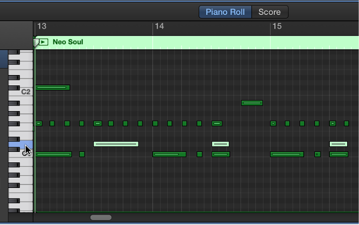 Figure. Selecting notes of same pitch by clicking on keyboard at left edge of Piano Roll Editor.