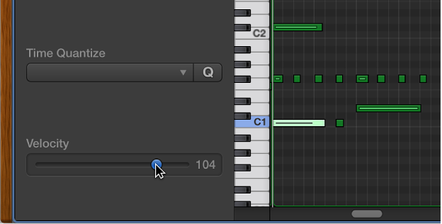 Figure. Editing note velocity in the Piano Roll Editor.