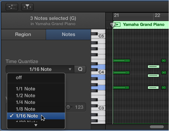 Figure. Choosing a value from the Time Quantize pop-up menu in the Piano Roll Editor inspector