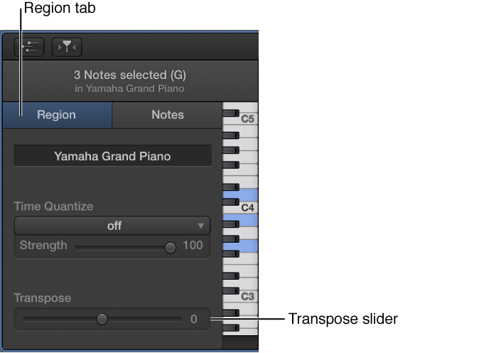 Figure. Piano Roll Editor inspector, showing Region tab and Transpose slider