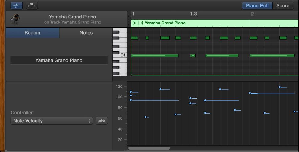 Figure. MIDI Draw area in Piano Roll Editor