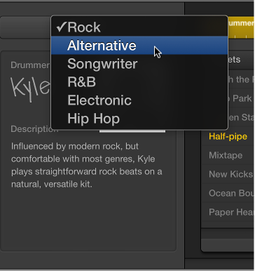 Figure. Choosing a genre in the Drummer Editor