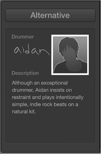 Figure. Character card in the Drummer Editor