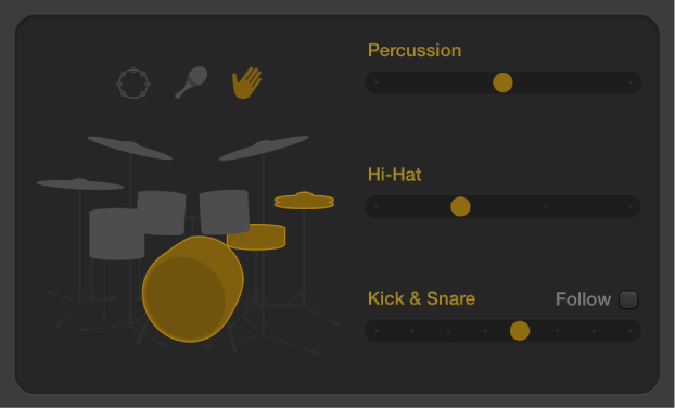 Figure. Drummer Editor showing acoustic pattern variation controls