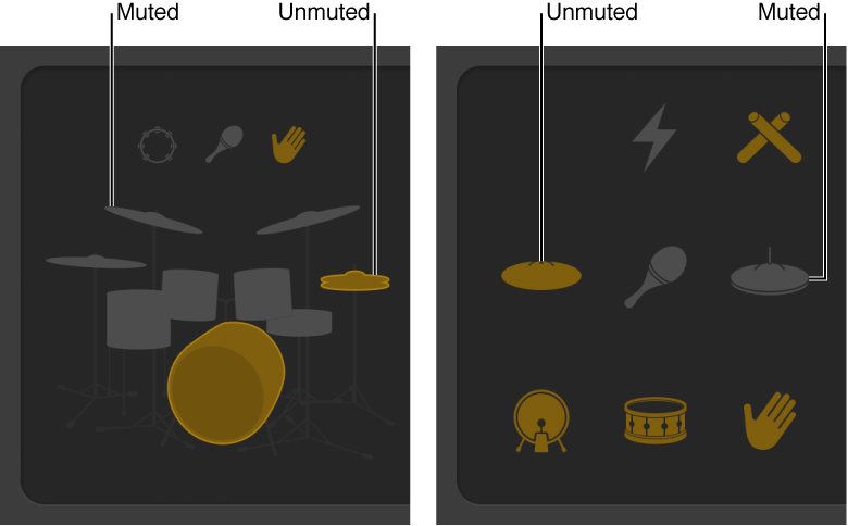 Figure. Drummer Editor showing muted and unmuted kit pieces
