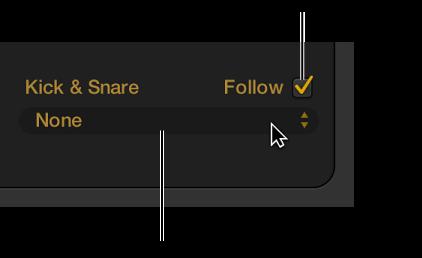 Figure. Drummer Editor showing Follow Rhythm checkbox and Follow Track pop-up menu