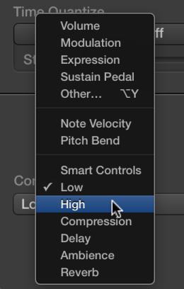 Figure. MIDI Draw pop-up menu showing Smart Controls types