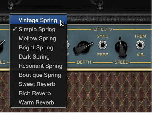 FIgure. Amp Designer showing Reverb menu and Tremolo and Vibrato controls