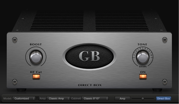 Figure. Bass Amp Designer showing Direct box controls.