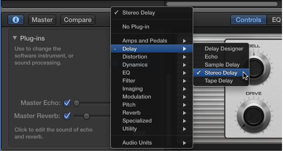 Figure. Choosing an effect plug-in from the Plug-in shortcut menu.