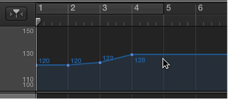 Figure. Tempo track, showing adding a tempo control point