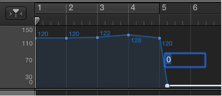 Figure. Tempo track, showing setting a tempo control point numerically