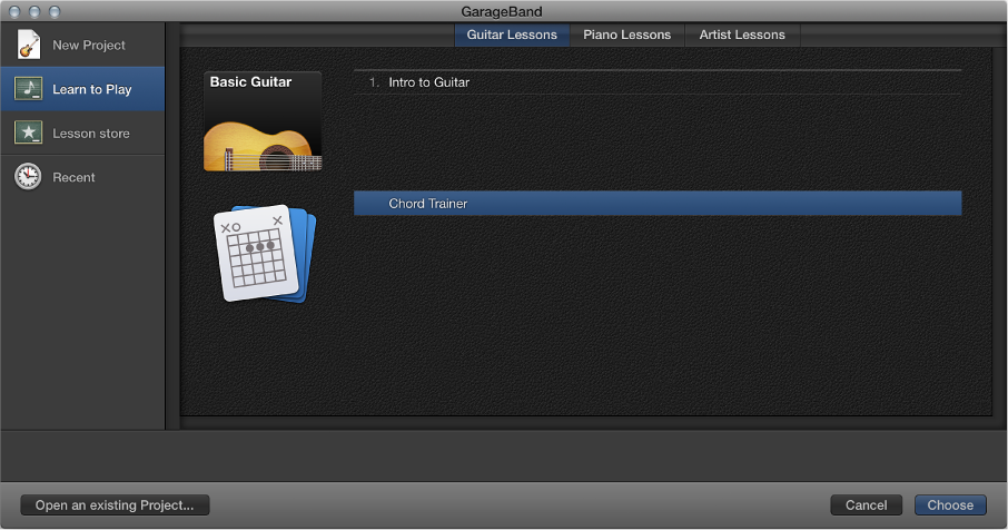 Figure. Project Chooser, selecting Chord Trainer