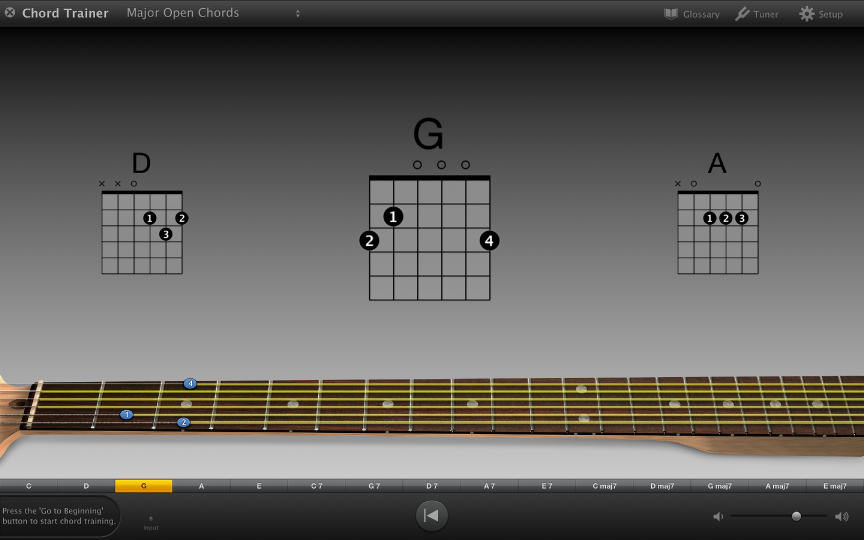 Figure. Chord Trainer showing practice chords