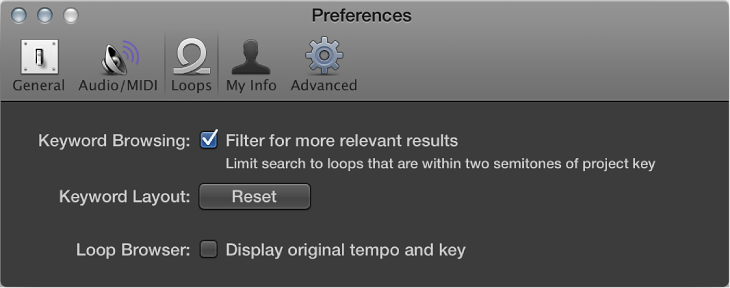 Figure. Loops preferences.
