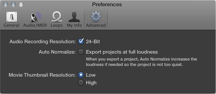 Figure. Advanced preferences.