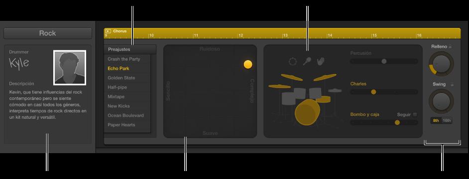 Ilustración. Editor de batería con distintas áreas.